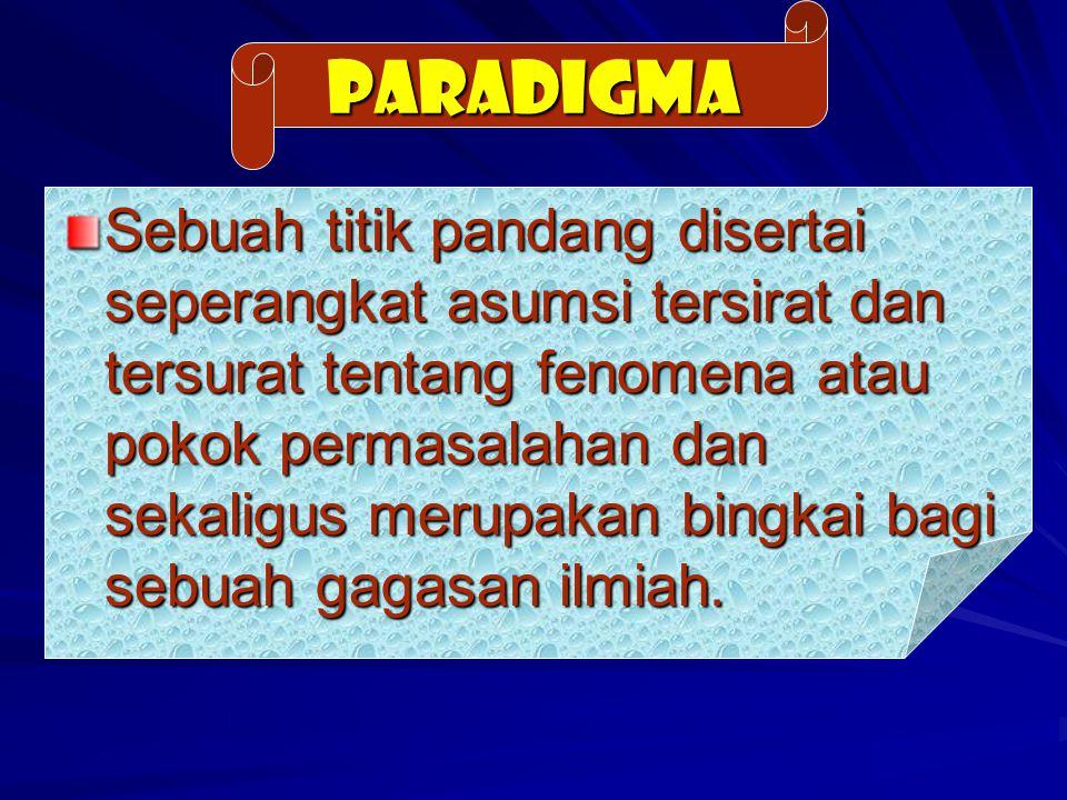 PARADIGMA Sebuah titik pandang disertai seperangkat asumsi tersirat dan tersurat tentang fenomena atau pokok permasalahan dan sekaligus merupakan bing