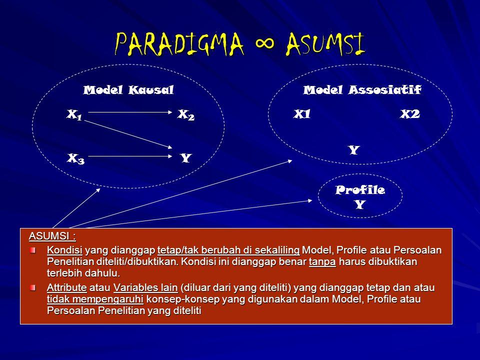 PARADIGMA ∞ ASUMSI ASUMSI : Kondisi yang dianggap tetap/tak berubah di sekaliling Model, Profile atau Persoalan Penelitian diteliti/dibuktikan. Kondis