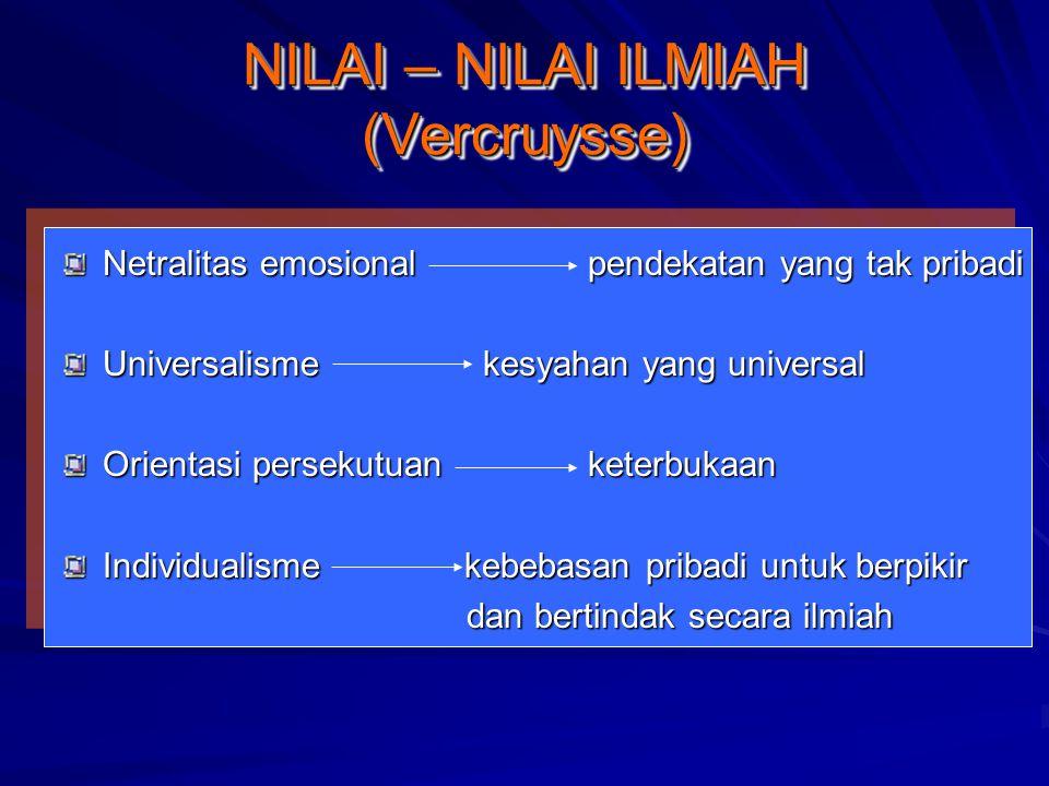 NILAI – NILAI ILMIAH (Vercruysse) Netralitas emosionalpendekatan yang tak pribadi Universalismekesyahan yang universal Orientasi persekutuanketerbukaa