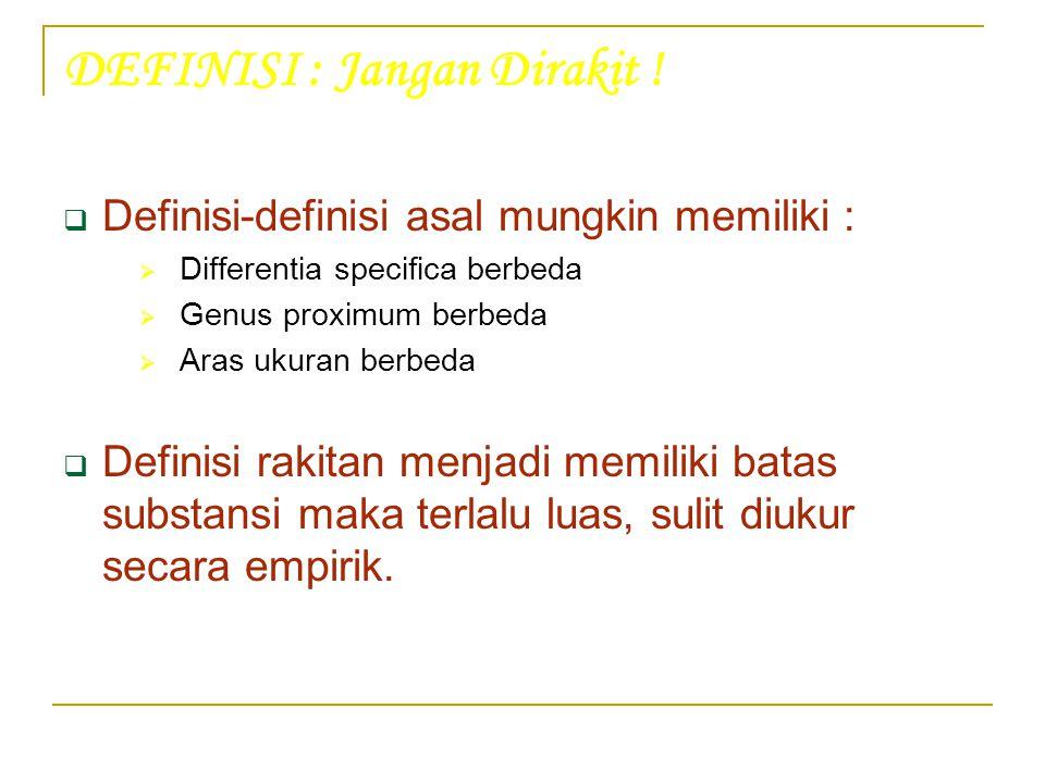 DEFINISI : Jangan Dirakit !  Definisi-definisi asal mungkin memiliki :  Differentia specifica berbeda  Genus proximum berbeda  Aras ukuran berbeda