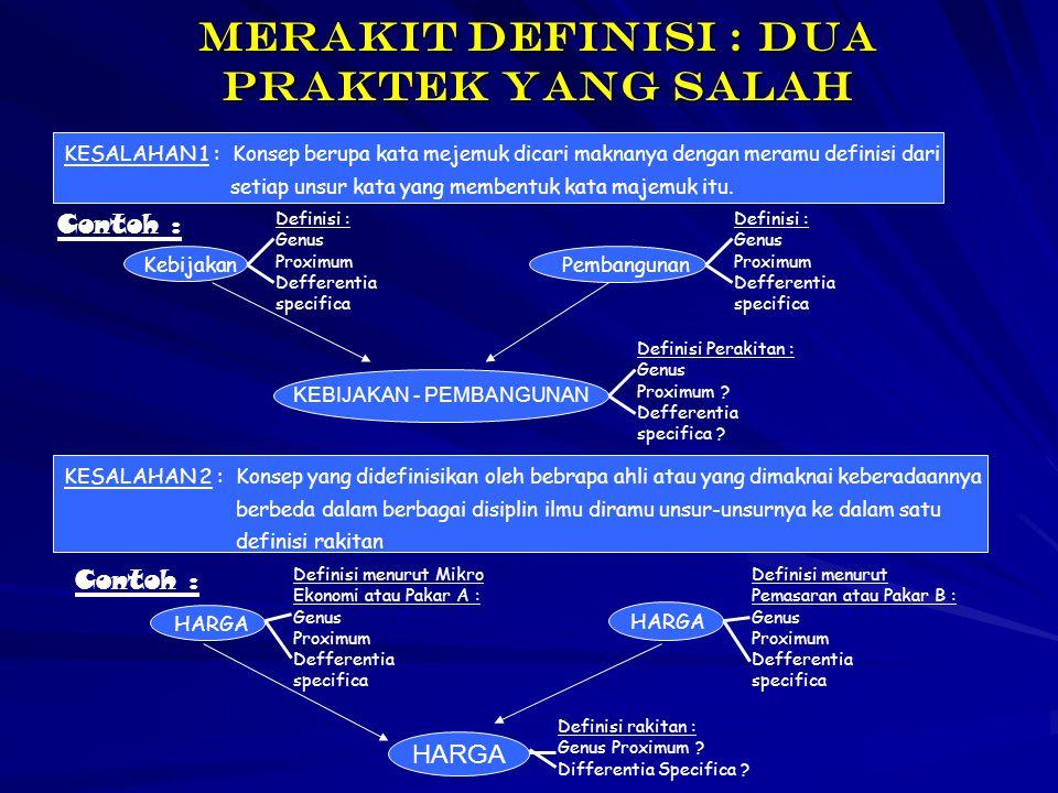 Merakit definisi : dua praktek yang salah KESALAHAN 1 : Konsep berupa kata mejemuk dicari maknanya dengan meramu definisi dari setiap unsur kata yang