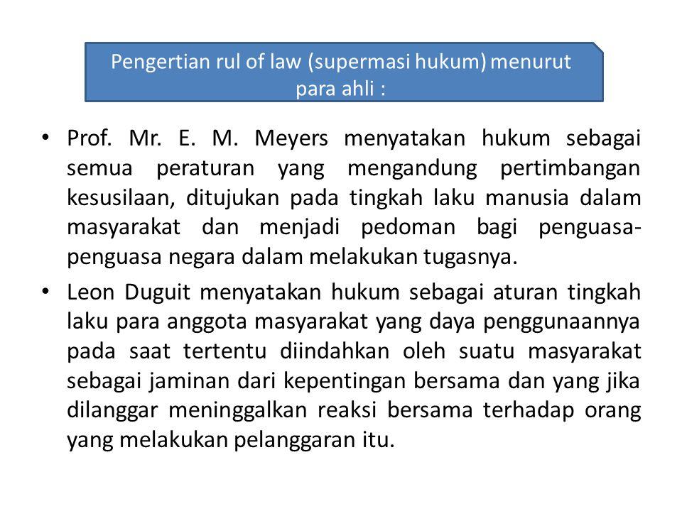 Pengertian rule of law (sepremasi hukum ) Adalah upaya untuk memberikan jaminan terciptanya keadilan.