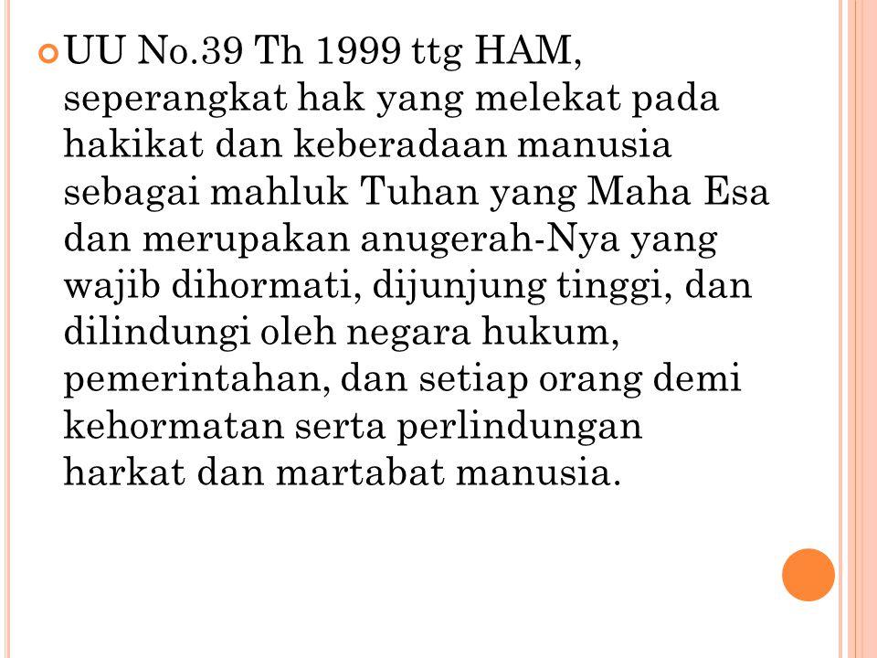 UU No.39 Th 1999 ttg HAM, seperangkat hak yang melekat pada hakikat dan keberadaan manusia sebagai mahluk Tuhan yang Maha Esa dan merupakan anugerah-N