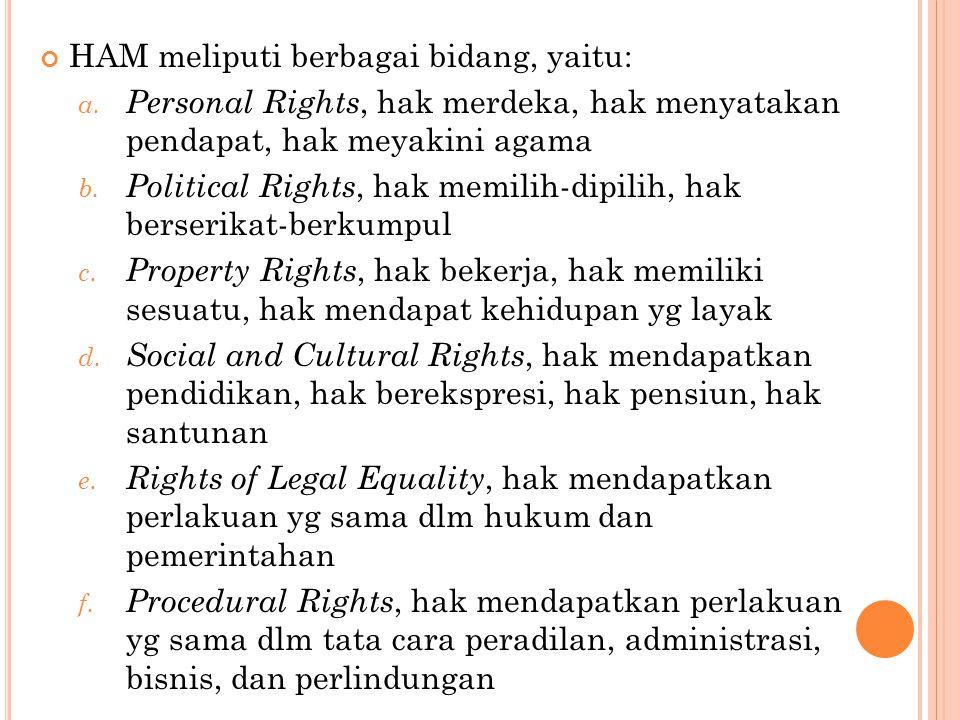 HAM meliputi berbagai bidang, yaitu: a. Personal Rights, hak merdeka, hak menyatakan pendapat, hak meyakini agama b. Political Rights, hak memilih-dip