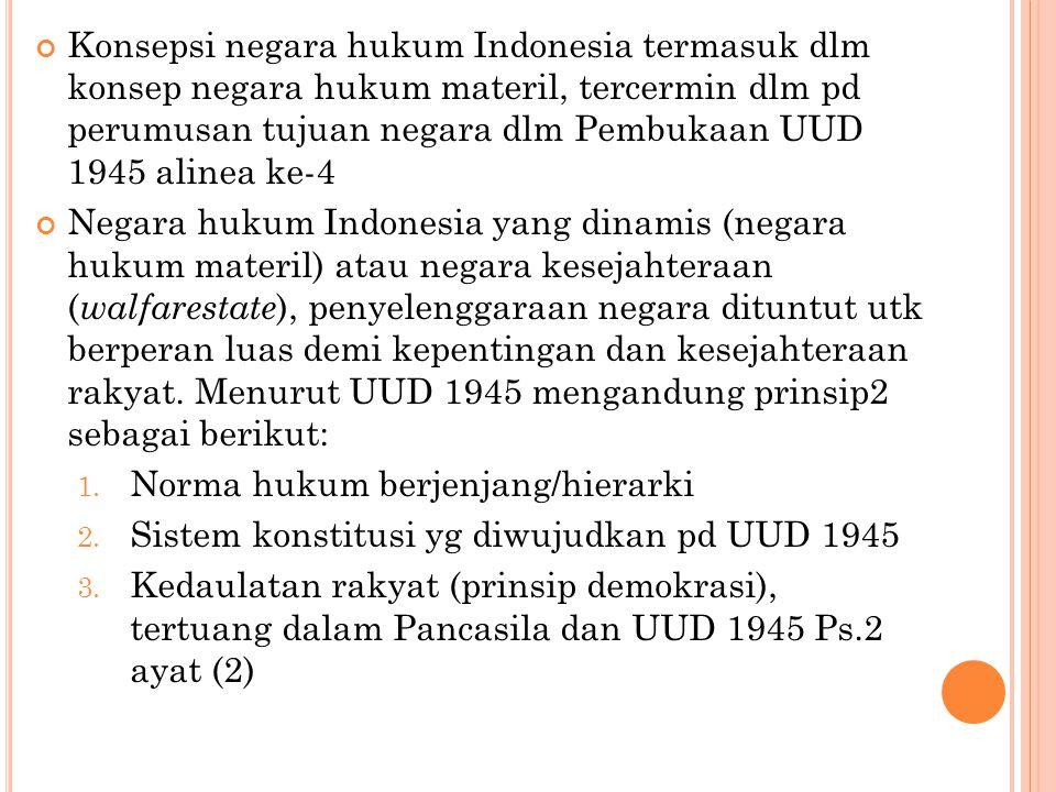 Konsepsi negara hukum Indonesia termasuk dlm konsep negara hukum materil, tercermin dlm pd perumusan tujuan negara dlm Pembukaan UUD 1945 alinea ke-4