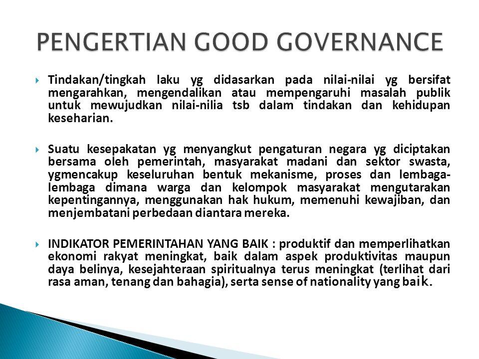  1Lembaga Administrasi Negara (LAN) menyimpulkan ada 9 aspek fundamental dalam mewujudkan Good Governance (GG): Partisipasi, Penegakan Hukum, Transparansi, Responsif, Konsensus, Kesetaraan dan Keadilan, Efektivitas dan Efisiensi, Akuntabilitas dan Visi Strategis.