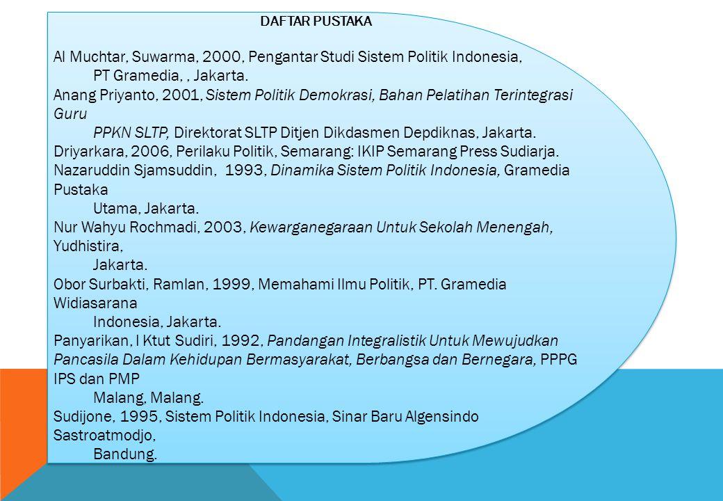DAFTAR PUSTAKA Al Muchtar, Suwarma, 2000, Pengantar Studi Sistem Politik Indonesia, PT Gramedia,, Jakarta. Anang Priyanto, 2001, Sistem Politik Demokr