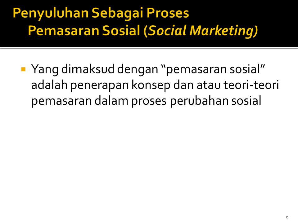 " Yang dimaksud dengan ""pemasaran sosial"" adalah penerapan konsep dan atau teori-teori pemasaran dalam proses perubahan sosial 9"