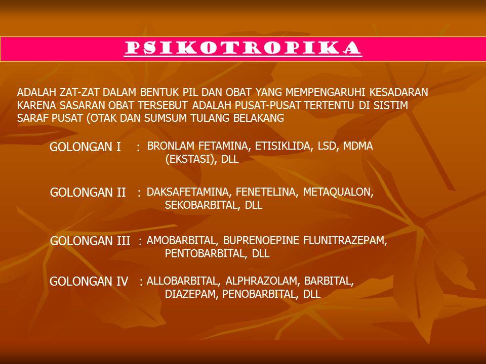 PSIKOTROPIKA ADALAH ZAT-ZAT DALAM BENTUK PIL DAN OBAT YANG MEMPENGARUHI KESADARAN KARENA SASARAN OBAT TERSEBUT ADALAH PUSAT-PUSAT TERTENTU DI SISTIM SARAF PUSAT (OTAK DAN SUMSUM TULANG BELAKANG GOLONGAN I : GOLONGAN II : GOLONGAN III : GOLONGAN IV : BRONLAM FETAMINA, ETISIKLIDA, LSD, MDMA (EKSTASI), DLL DAKSAFETAMINA, FENETELINA, METAQUALON, SEKOBARBITAL, DLL AMOBARBITAL, BUPRENOEPINE FLUNITRAZEPAM, PENTOBARBITAL, DLL ALLOBARBITAL, ALPHRAZOLAM, BARBITAL, DIAZEPAM, PENOBARBITAL, DLL