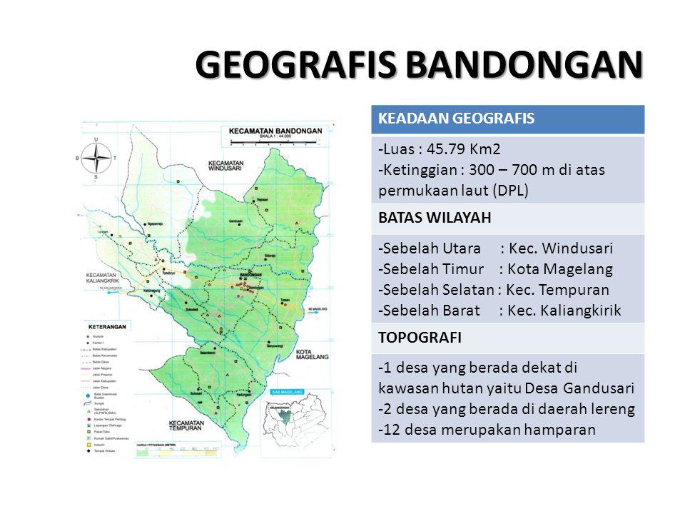GEOGRAFIS BANDONGAN KEADAAN GEOGRAFIS -Luas : 45.79 Km2 -Ketinggian : 300 – 700 m di atas permukaan laut (DPL) BATAS WILAYAH -Sebelah Utara : Kec. Win