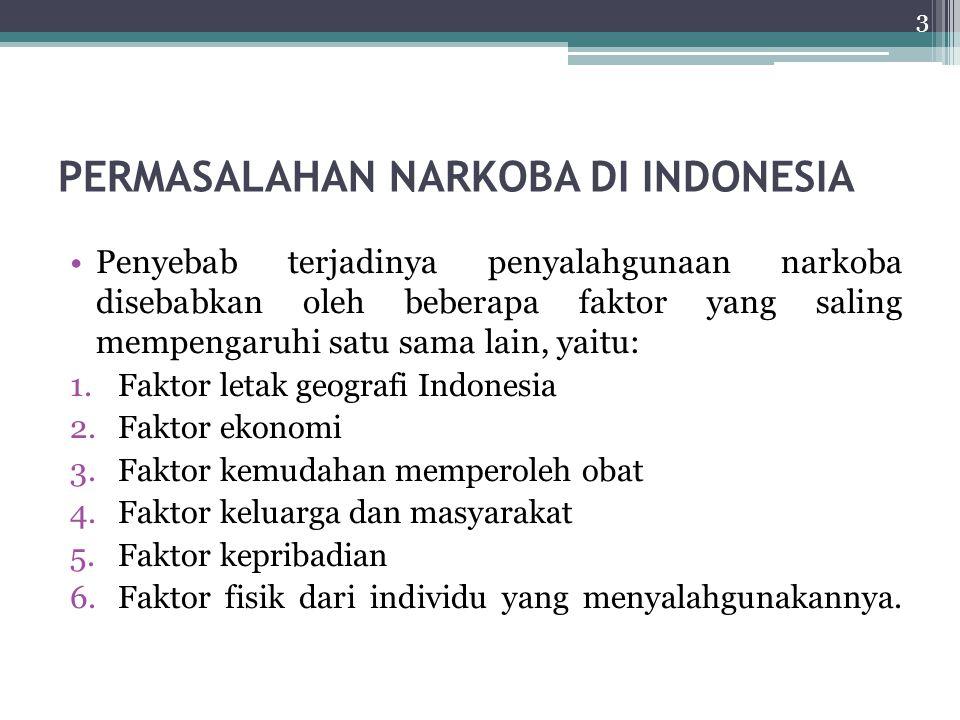 PERMASALAHAN NARKOBA DI INDONESIA Penyebab terjadinya penyalahgunaan narkoba disebabkan oleh beberapa faktor yang saling mempengaruhi satu sama lain,