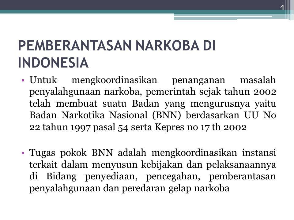 PEMBERANTASAN NARKOBA DI INDONESIA Untuk mengkoordinasikan penanganan masalah penyalahgunaan narkoba, pemerintah sejak tahun 2002 telah membuat suatu