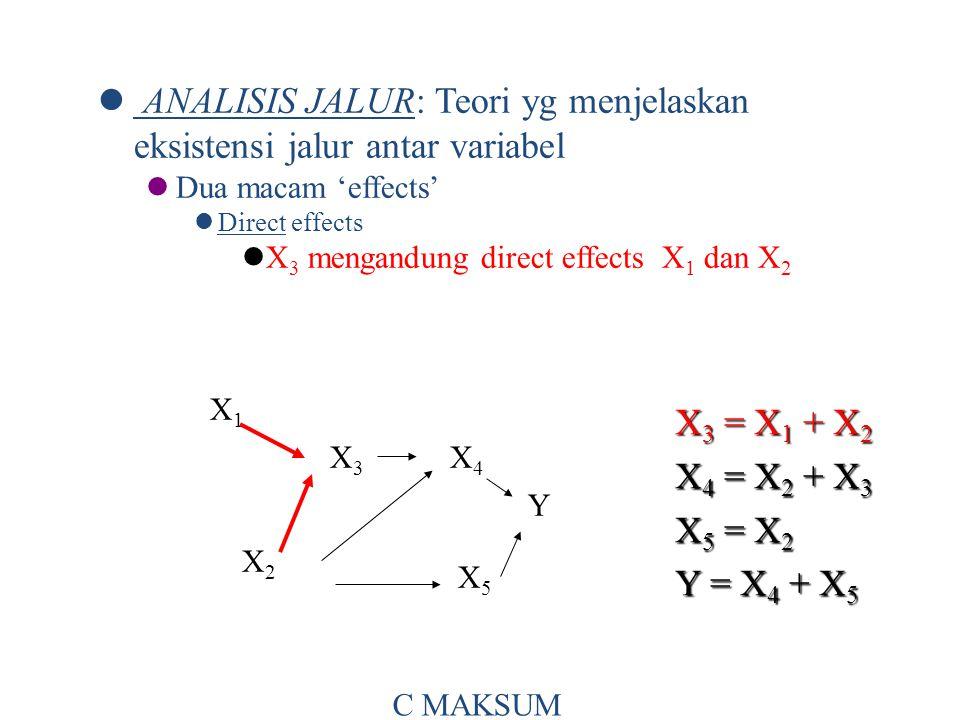 ANALISIS JALUR: Teori yg menjelaskan eksistensi jalur antar variabel Dua macam 'effects' Direct effects X 3 mengandung direct effects X 1 dan X 2 X 3 = X 1 + X 2 X 4 = X 2 + X 3 X 5 = X 2 Y = X 4 + X 5 X1X1 X3X3 X4X4 X2X2 X5X5 Y C MAKSUM