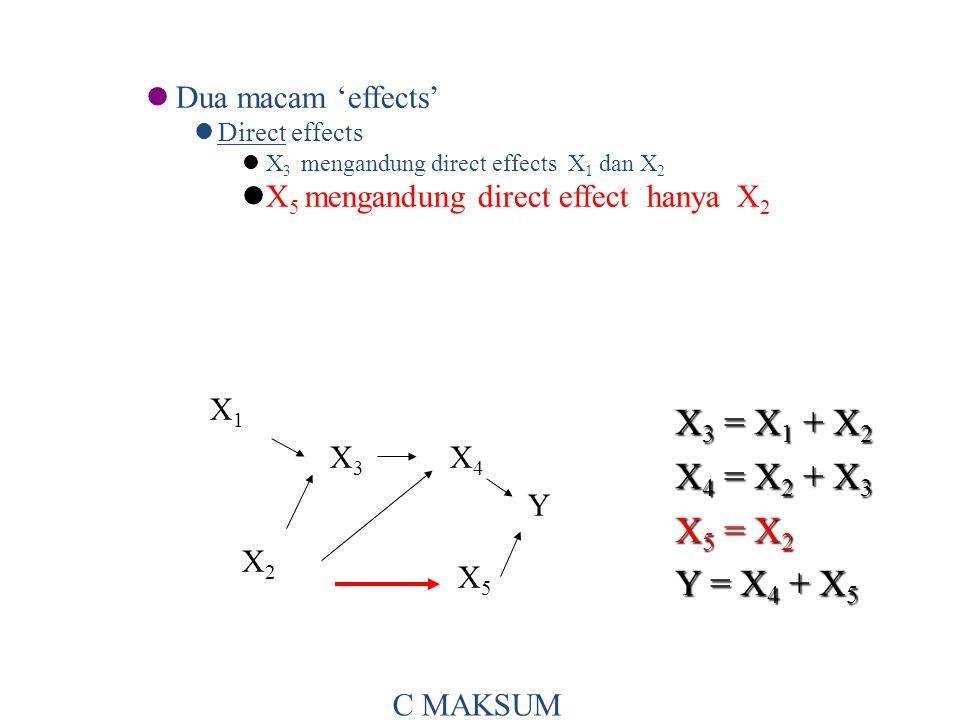 Dua macam 'effects' Direct effects X 3 mengandung direct effects X 1 dan X 2 X 5 mengandung direct effect hanya X 2 X 3 = X 1 + X 2 X 4 = X 2 + X 3 X 5 = X 2 Y = X 4 + X 5 X1X1 X3X3 X4X4 X2X2 X5X5 Y C MAKSUM