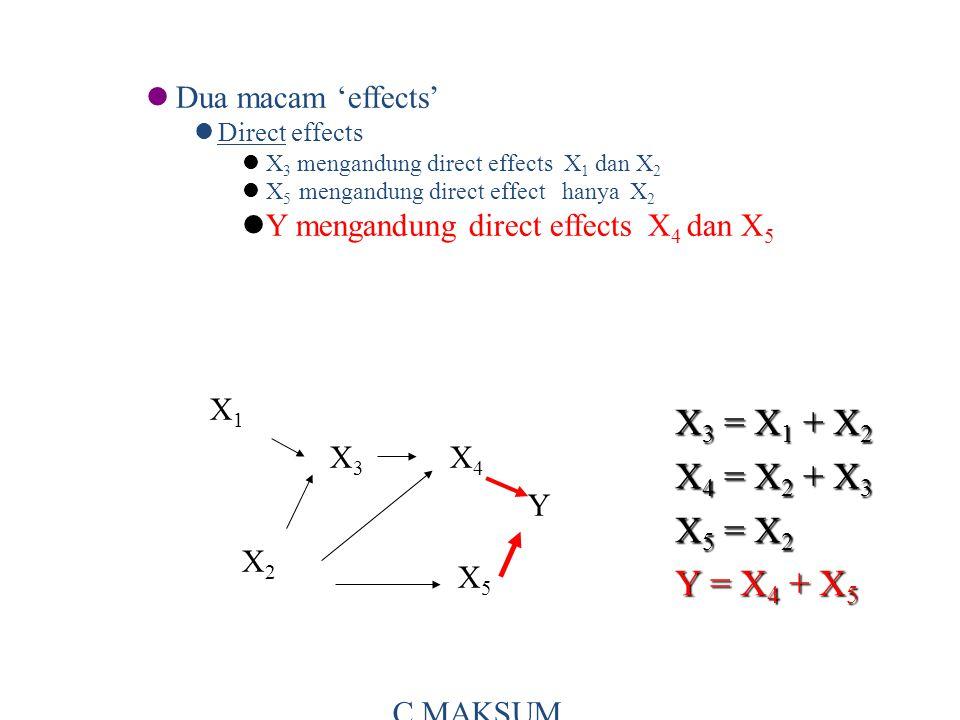 Dua macam 'effects' Direct effects X 3 mengandung direct effects X 1 dan X 2 X 5 mengandung direct effect hanya X 2 Y mengandung direct effects X 4 dan X 5 X 3 = X 1 + X 2 X 4 = X 2 + X 3 X 5 = X 2 Y = X 4 + X 5 X1X1 X3X3 X4X4 X2X2 X5X5 Y C MAKSUM