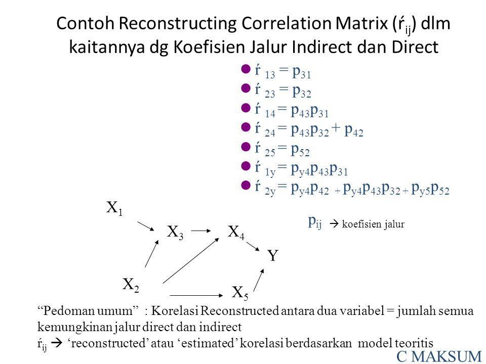 Contoh Reconstructing Correlation Matrix (ŕ ij ) dlm kaitannya dg Koefisien Jalur Indirect dan Direct ŕ 13 = p 31 ŕ 23 = p 32 ŕ 14 = p 43 p 31 ŕ 24 = p 43 p 32 + p 42 ŕ 25 = p 52 ŕ 1y = p y4 p 43 p 31 ŕ 2y = p y4 p 42 + p y4 p 43 p 32 + p y5 p 52 X1X1 X3X3 X4X4 X2X2 X5X5 Y Pedoman umum : Korelasi Reconstructed antara dua variabel = jumlah semua kemungkinan jalur direct dan indirect ŕ ij  'reconstructed' atau 'estimated' korelasi berdasarkan model teoritis C MAKSUM p ij  koefisien jalur