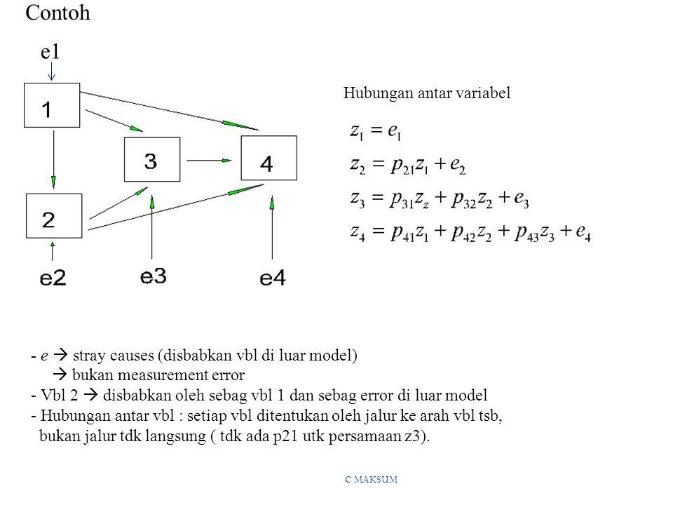 C MAKSUM Contoh - e  stray causes (disbabkan vbl di luar model)  bukan measurement error - Vbl 2  disbabkan oleh sebag vbl 1 dan sebag error di luar model - Hubungan antar vbl : setiap vbl ditentukan oleh jalur ke arah vbl tsb, bukan jalur tdk langsung ( tdk ada p21 utk persamaan z3).