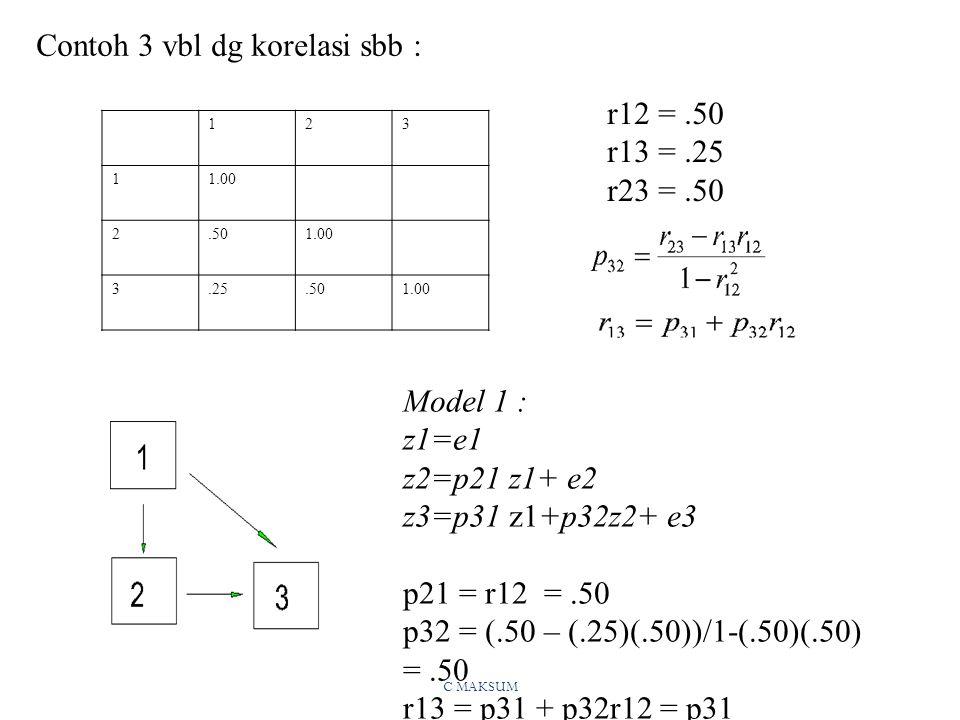 C MAKSUM Contoh 3 vbl dg korelasi sbb : 123 11.00 2.501.00 3.25.501.00 Model 1 : z1=e1 z2=p21 z1+ e2 z3=p31 z1+p32z2+ e3 p21 = r12 =.50 p32 = (.50 – (.25)(.50))/1-(.50)(.50) =.50 r13 = p31 + p32r12 = p31 +(.50)(.50) p31 =.25 -.25 = 0 r12 =.50 r13 =.25 r23 =.50