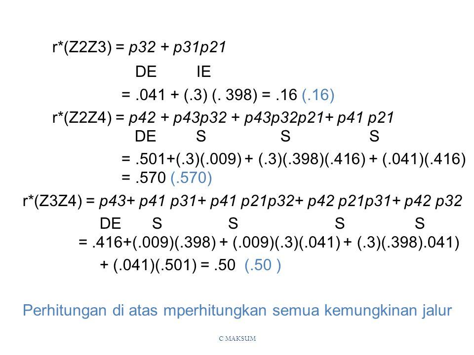C MAKSUM r*(Z2Z3) = p32 + p31p21 DE IE =.041 + (.3) (.