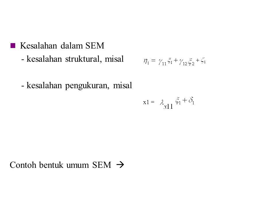 Kesalahan dalam SEM - kesalahan struktural, misal - kesalahan pengukuran, misal Contoh bentuk umum SEM  x1 =