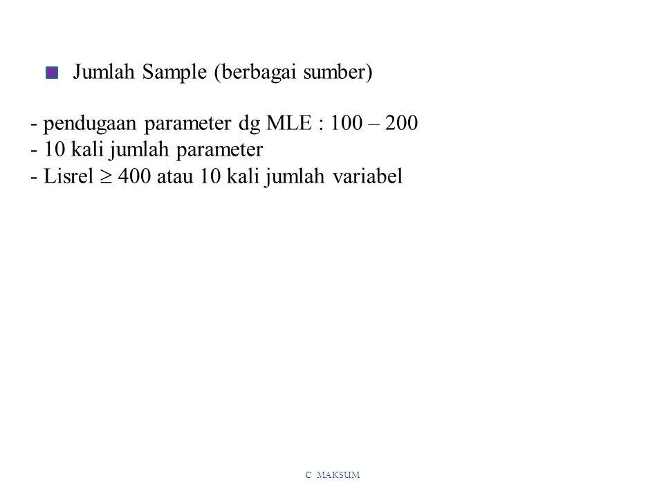 C MAKSUM Jumlah Sample (berbagai sumber) - pendugaan parameter dg MLE : 100 – 200 - 10 kali jumlah parameter - Lisrel  400 atau 10 kali jumlah variabel