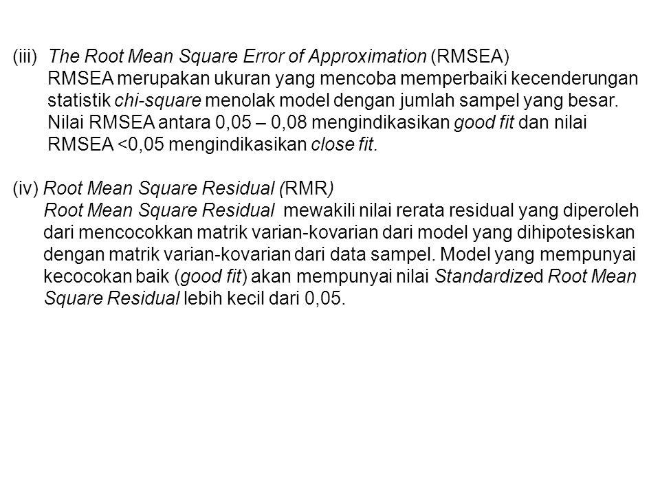 (iii) The Root Mean Square Error of Approximation (RMSEA) RMSEA merupakan ukuran yang mencoba memperbaiki kecenderungan statistik chi-square menolak model dengan jumlah sampel yang besar.