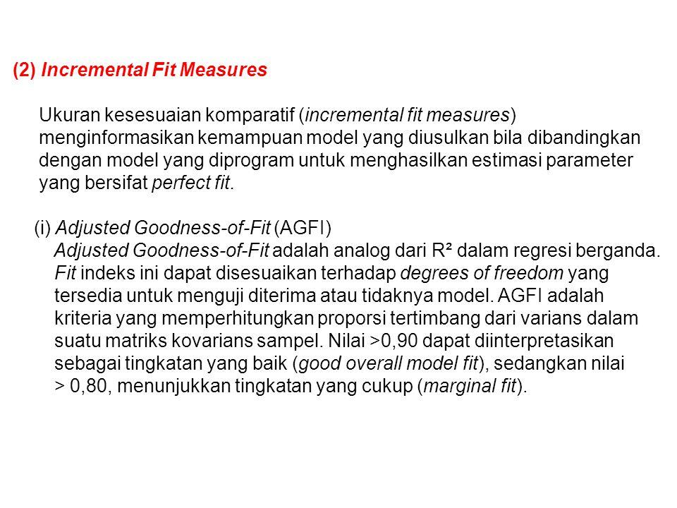 (2) Incremental Fit Measures Ukuran kesesuaian komparatif (incremental fit measures) menginformasikan kemampuan model yang diusulkan bila dibandingkan dengan model yang diprogram untuk menghasilkan estimasi parameter yang bersifat perfect fit.