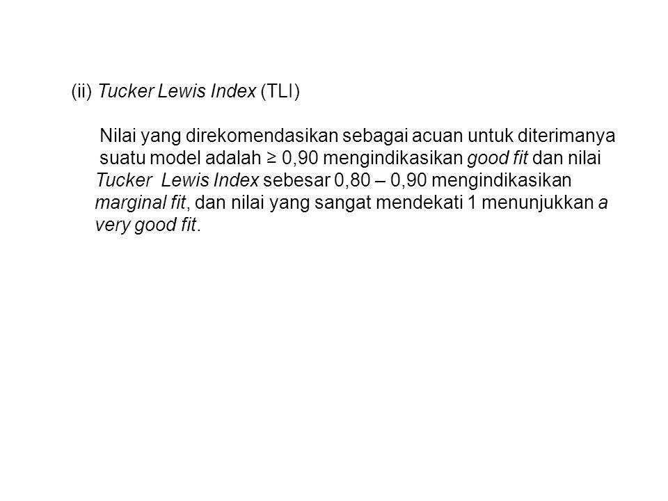 (ii) Tucker Lewis Index (TLI) Nilai yang direkomendasikan sebagai acuan untuk diterimanya suatu model adalah ≥ 0,90 mengindikasikan good fit dan nilai Tucker Lewis Index sebesar 0,80 – 0,90 mengindikasikan marginal fit, dan nilai yang sangat mendekati 1 menunjukkan a very good fit.