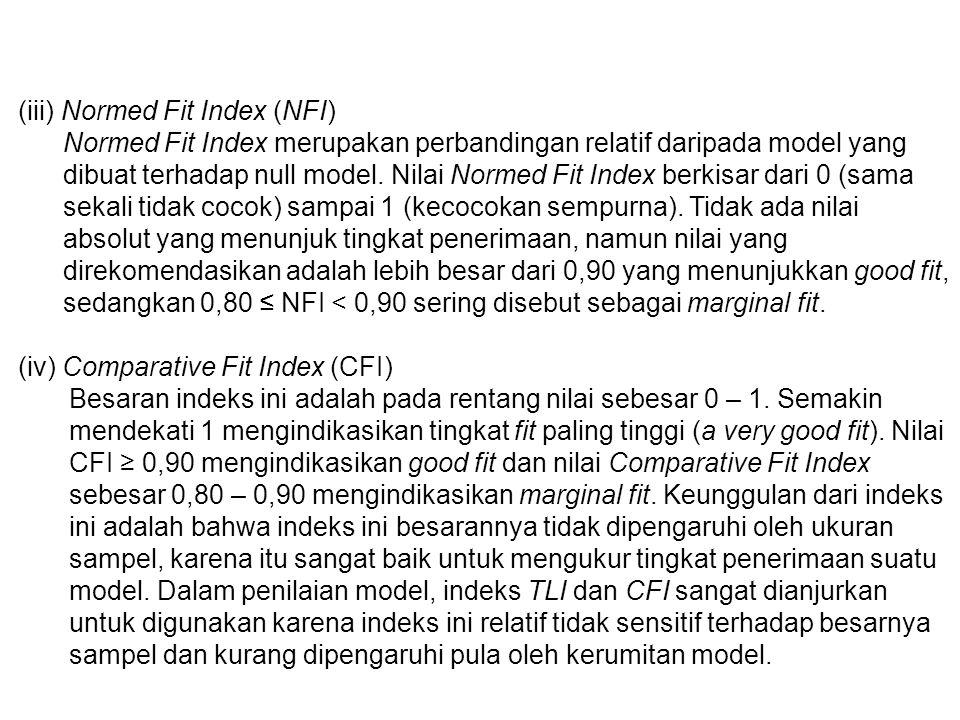(iii) Normed Fit Index (NFI) Normed Fit Index merupakan perbandingan relatif daripada model yang dibuat terhadap null model.