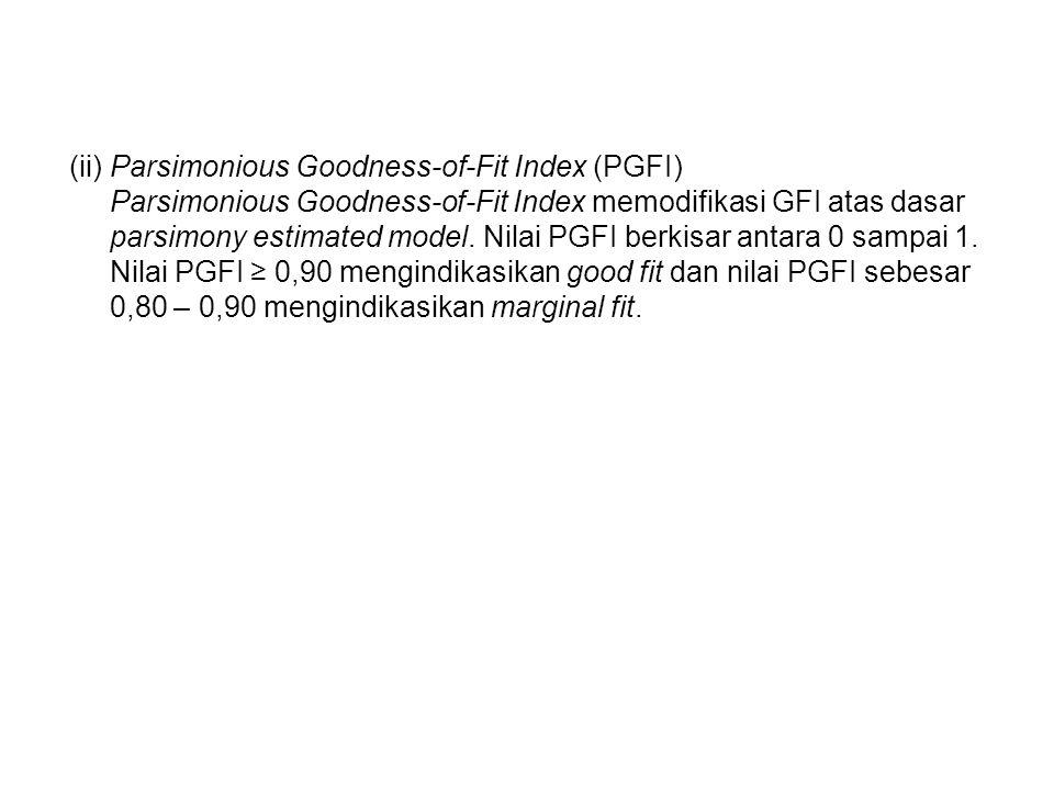 (ii) Parsimonious Goodness-of-Fit Index (PGFI) Parsimonious Goodness-of-Fit Index memodifikasi GFI atas dasar parsimony estimated model.