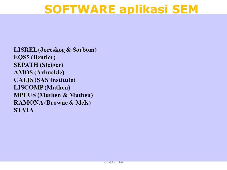 SOFTWARE aplikasi SEM C MAKSUM LISREL (Joreskog & Sorbom) EQS5 (Bentler) SEPATH (Steiger) AMOS (Arbuckle) CALIS (SAS Institute) LISCOMP (Muthen) MPLUS (Muthen & Muthen) RAMONA (Browne & Mels) STATA