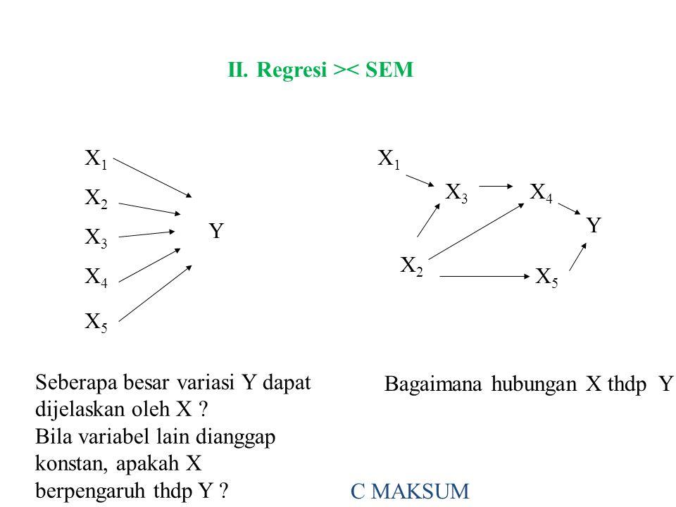 II. Regresi >< SEM X1X1 X2X2 X3X3 X4X4 X5X5 Y X1X1 X3X3 X4X4 X2X2 X5X5 Y Seberapa besar variasi Y dapat dijelaskan oleh X ? Bila variabel lain diangga