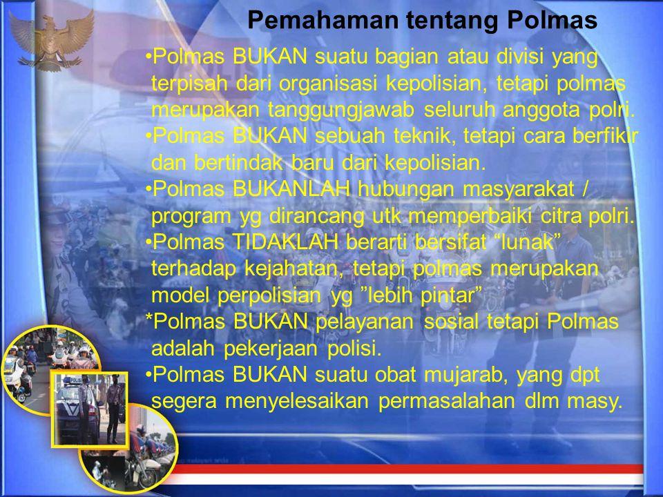 Polmas BUKAN suatu bagian atau divisi yang terpisah dari organisasi kepolisian, tetapi polmas merupakan tanggungjawab seluruh anggota polri. Polmas BU