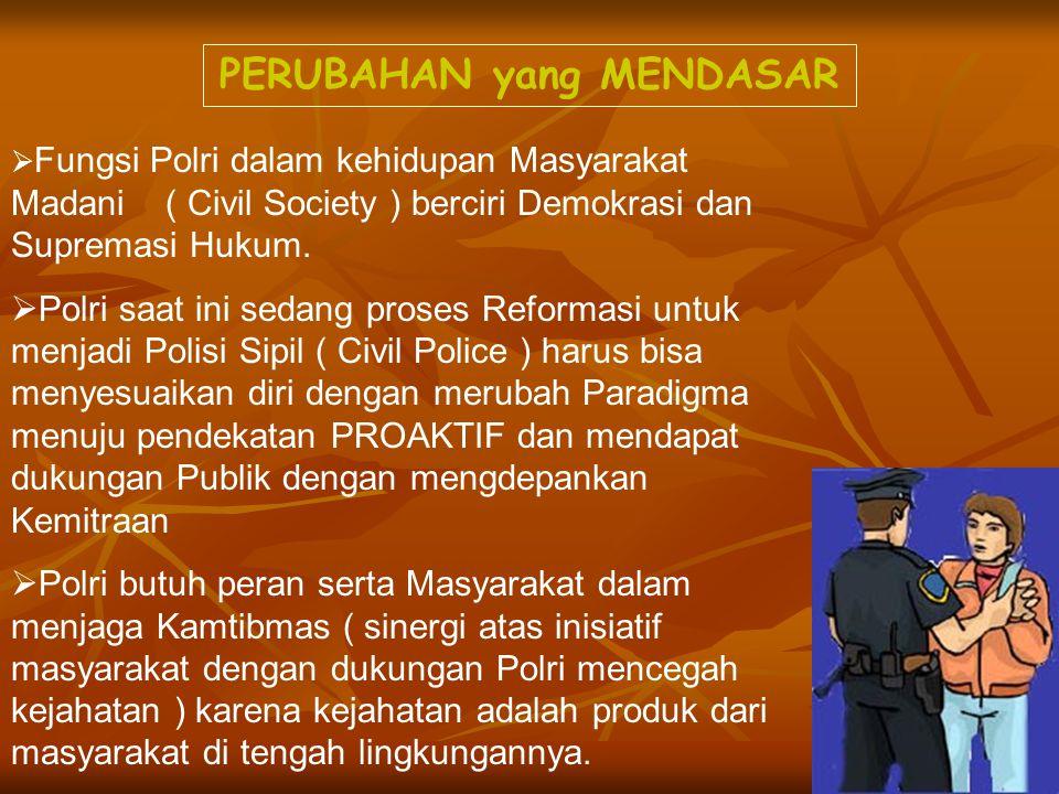 PERUBAHAN yang MENDASAR  Fungsi Polri dalam kehidupan Masyarakat Madani ( Civil Society ) berciri Demokrasi dan Supremasi Hukum.  Polri saat ini sed