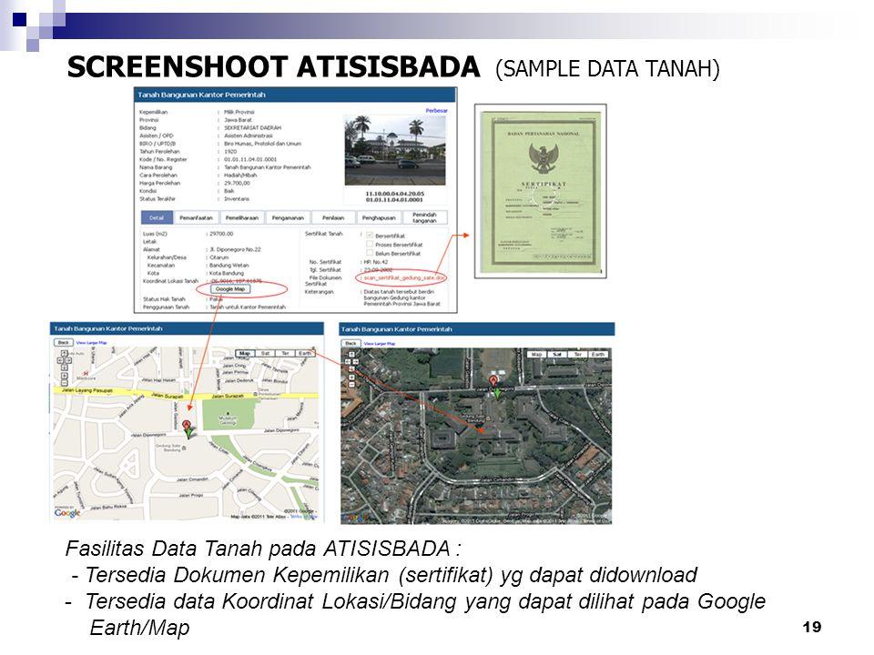 20 SCREENSHOOT ATISISBADA (SAMPLE DATA BANGUNAN) Fasilitas Data Tanah pada ATISISBADA : - Tersedia Data Photo/Gambar - Tersedia Dokumen IMB yg dapat didownload - Tersedia data Koordinat Lokasi/Bidang yang dapat dilihat pada Google Earth/Map