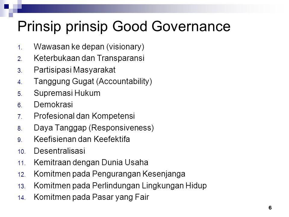 Prinsip prinsip Good Governance 1. Wawasan ke depan (visionary) 2. Keterbukaan dan Transparansi 3. Partisipasi Masyarakat 4. Tanggung Gugat (Accountab