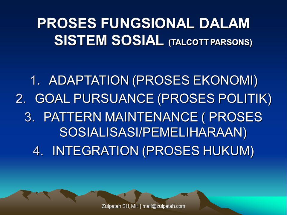 PROSES FUNGSIONAL DALAM SISTEM SOSIAL (TALCOTT PARSONS) 1.ADAPTATION (PROSES EKONOMI) 2.GOAL PURSUANCE (PROSES POLITIK) 3.PATTERN MAINTENANCE ( PROSES