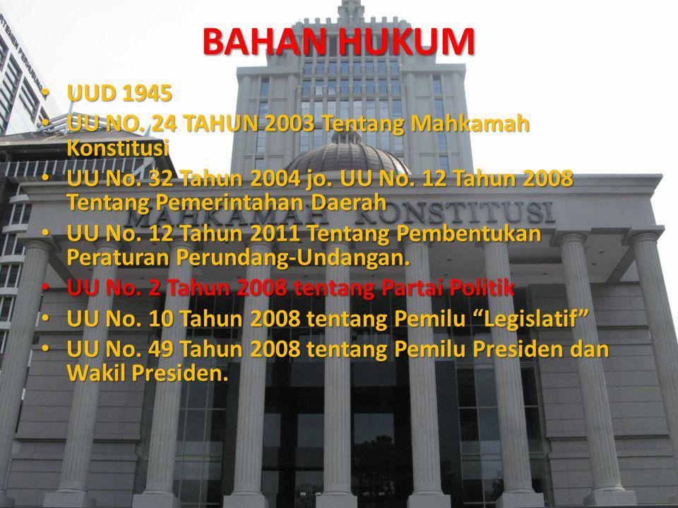 BAHAN HUKUM UUD 1945 UUD 1945 UU NO. 24 TAHUN 2003 Tentang Mahkamah Konstitusi UU NO. 24 TAHUN 2003 Tentang Mahkamah Konstitusi UU No. 32 Tahun 2004 j