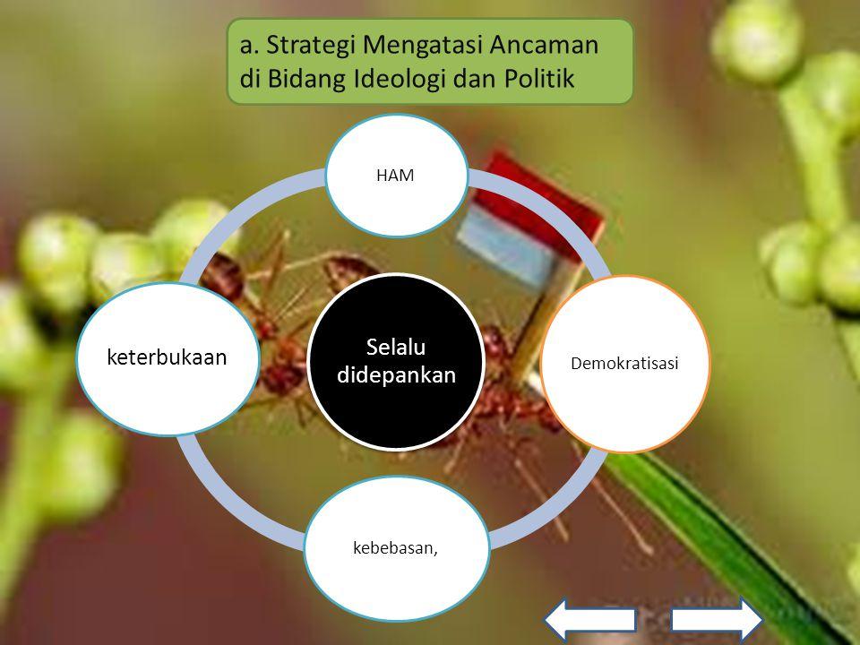 Untuk mencapai hal tersebut, bangsa Indonesia harus segera mewujudkan hal-hal sebagai berikut: 1) Mengembangkan demokrasi politik.