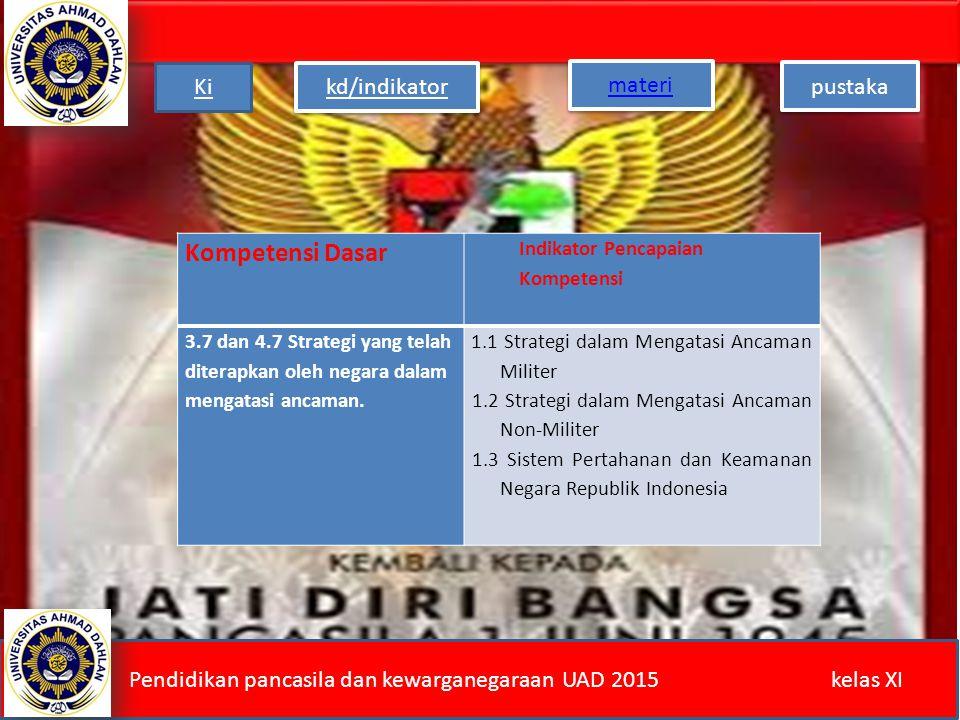 Kompetensi Dasar Indikator Pencapaian Kompetensi 3.7 dan 4.7 Strategi yang telah diterapkan oleh negara dalam mengatasi ancaman.