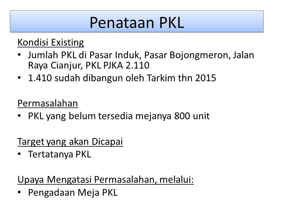 Penataan PKL Kondisi Existing Jumlah PKL di Pasar Induk, Pasar Bojongmeron, Jalan Raya Cianjur, PKL PJKA 2.110 1.410 sudah dibangun oleh Tarkim thn 2015 Permasalahan PKL yang belum tersedia mejanya 800 unit Target yang akan Dicapai Tertatanya PKL Upaya Mengatasi Permasalahan, melalui: Pengadaan Meja PKL