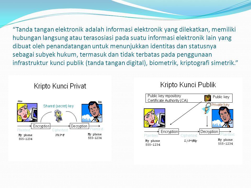"""""""Tanda tangan elektronik adalah informasi elektronik yang dilekatkan, memiliki hubungan langsung atau terasosiasi pada suatu informasi elektronik lain"""