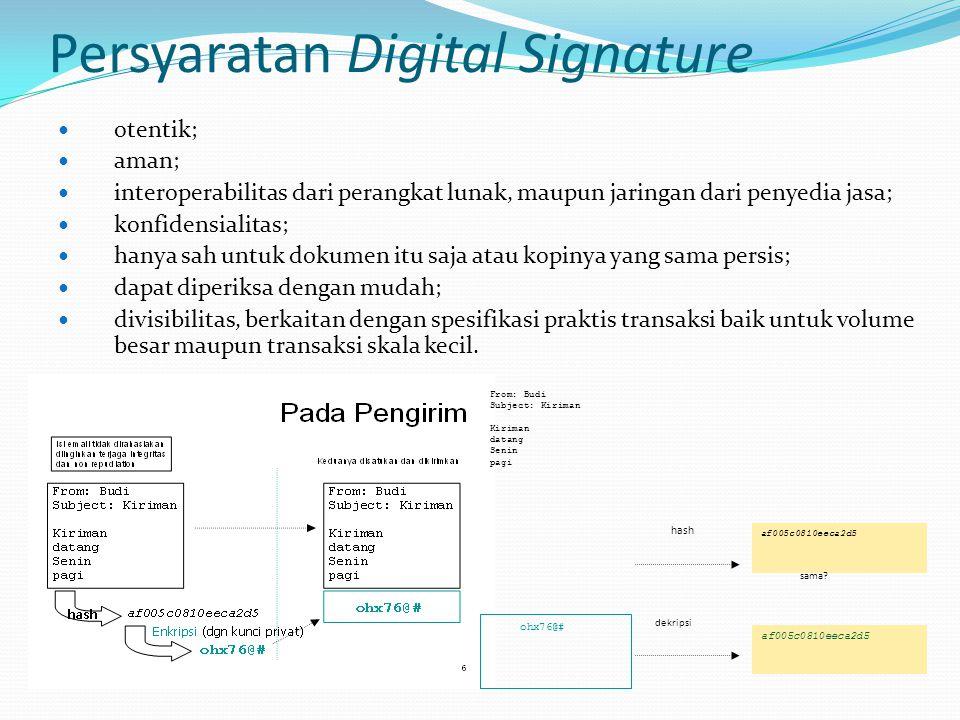 Persyaratan Digital Signature otentik; aman; interoperabilitas dari perangkat lunak, maupun jaringan dari penyedia jasa; konfidensialitas; hanya sah u