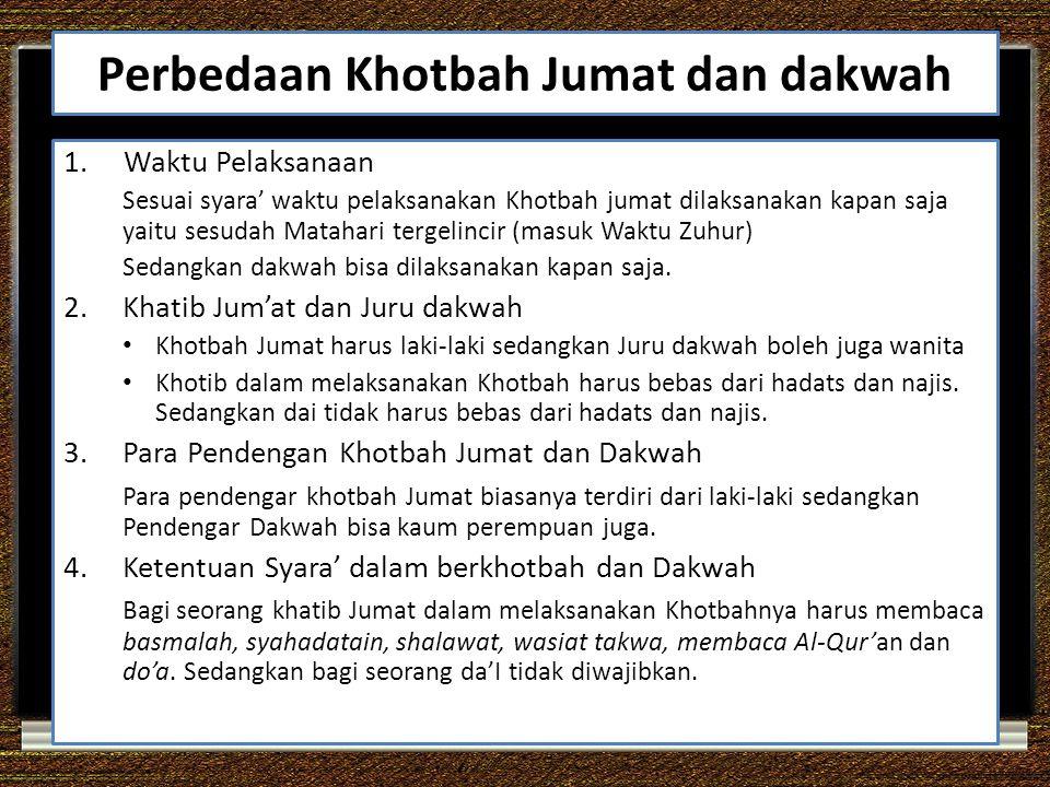 Perbedaan Khotbah Jumat dan dakwah 1.