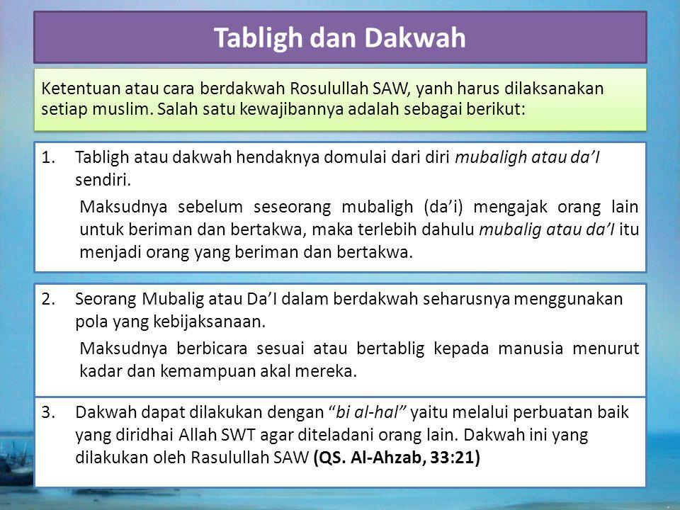 4.Dakwah dapat dilaksanakan melalui ucapan lisan dan tulisan, baik perorangan ataupun kepada masyarakat umum.