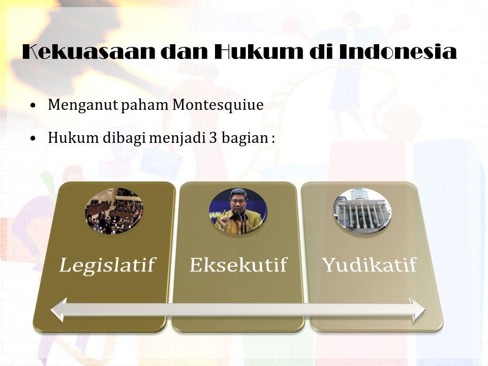 Kekuasaan dan Hukum di Indonesia Menganut paham Montesquiue Hukum dibagi menjadi 3 bagian :