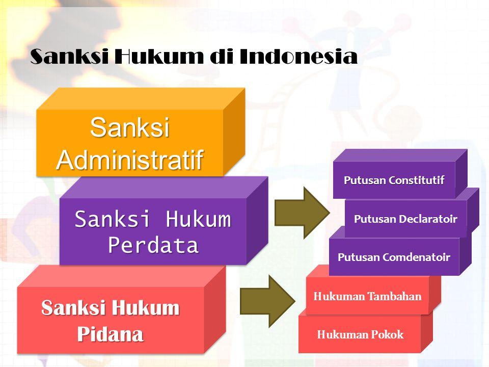 Sanksi Hukum di Indonesia Sanksi Hukum Pidana Sanksi Hukum Perdata Sanksi Administratif Hukuman Pokok Hukuman Tambahan Putusan Comdenatoir Putusan Declaratoir Putusan Constitutif