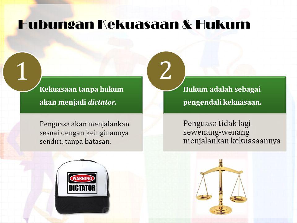 Hubungan Kekuasaan & Hukum (Cont'd) Hukum sebagai alat untuk kontrol kekuasaan.