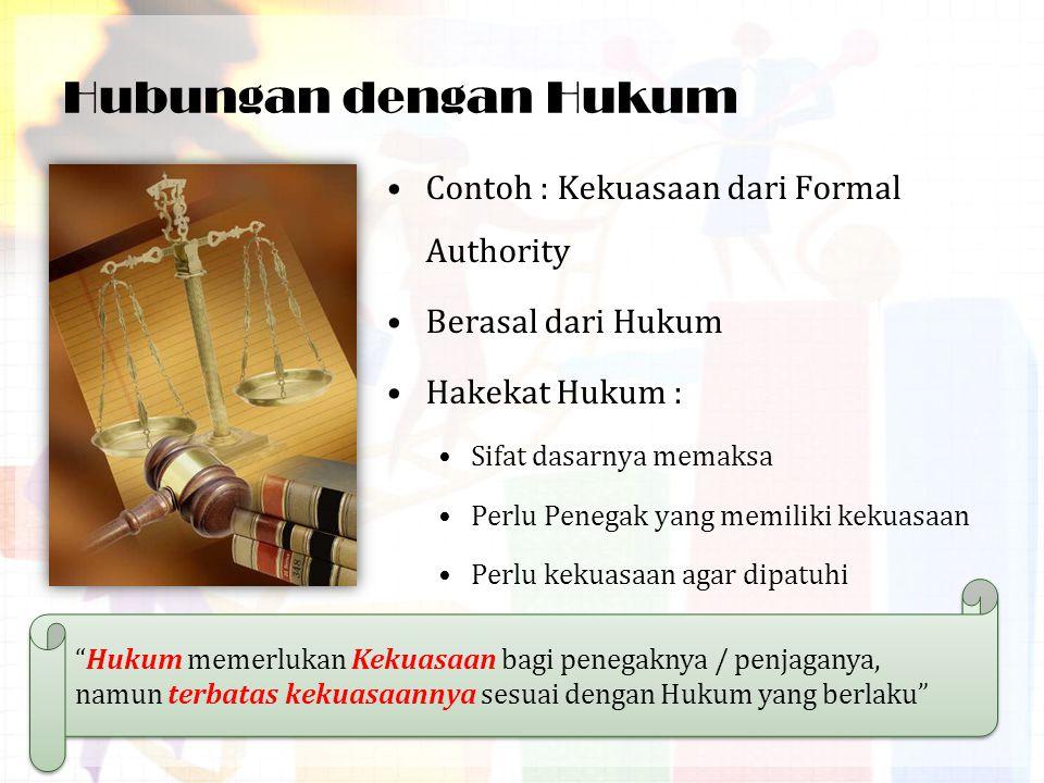 Kekuasaan Dengan Hukum Kekuasaan berhubungan dengan hukum  kekuasaan Negara Kekuasaan yang masih dalam konteks hukum :