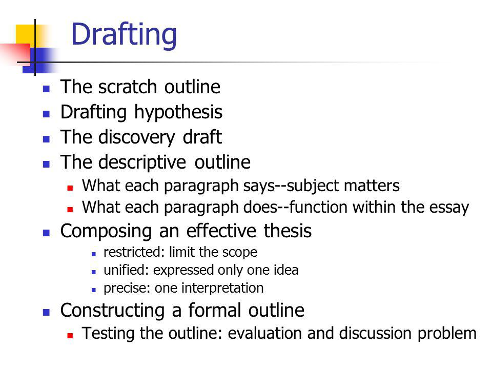 Drafting The scratch outline Drafting hypothesis The discovery draft The descriptive outline What each paragraph says--subject matters What each parag